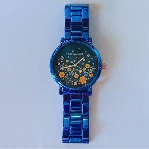 Michael Kors flower watch blue metal stainless steel daisy flowers rose gold